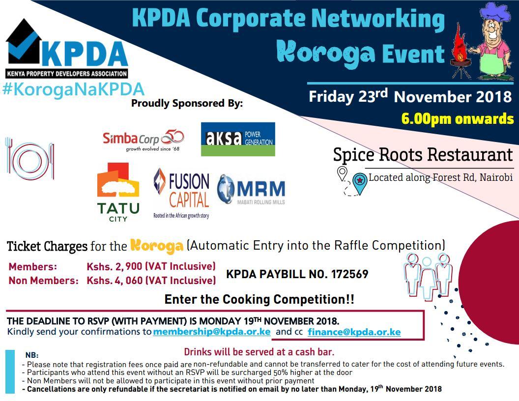 Invitation to the KPDA Koroga Event, Friday 23rd November 2018