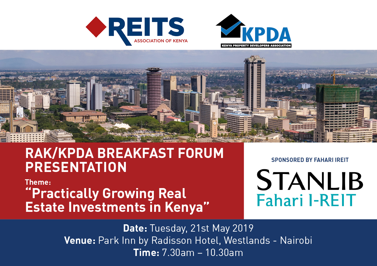 The Journey to Listing a REIT by Edward Kirathe. RAK-KPDA Breakfast Forum 21.05.2019