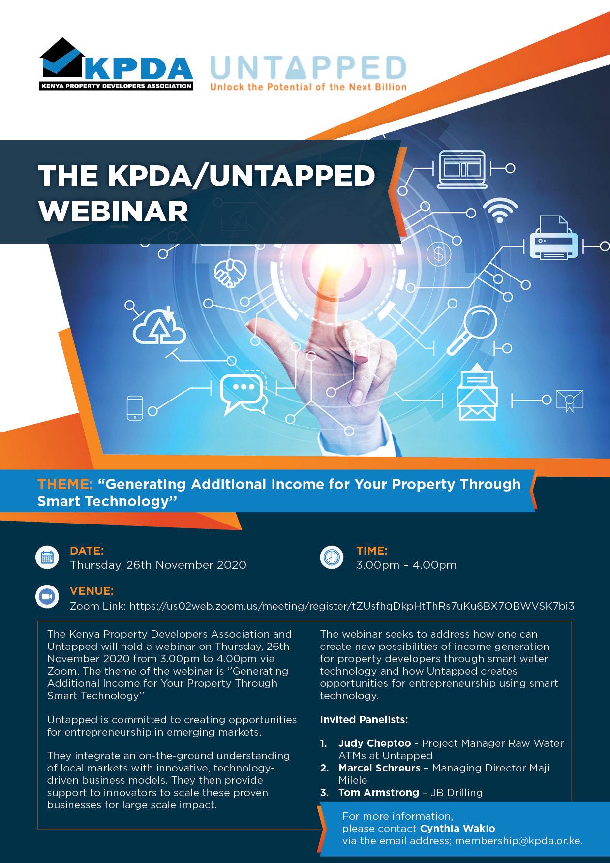 Invitation to the KPDA UNTAPPED Webinar, Thursday, 26th November 2020